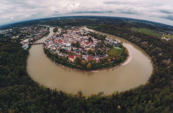 Luftaufnahme Quadcopter Drohne GoPro Aerial Wasserburg am Inn